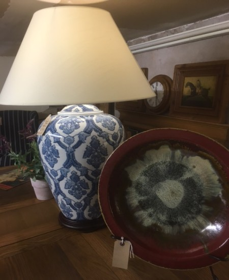 White / Blue Pattern Ceramic Table Lamp with Shade on display in our Southport furniture showrooms