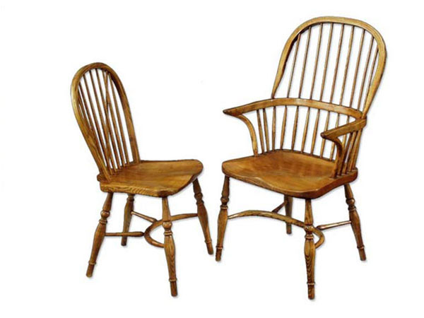 Norfolk Cabinet Makers Large Oak Stick Back Windsor Dining Side Chair and Dining Armchair.
