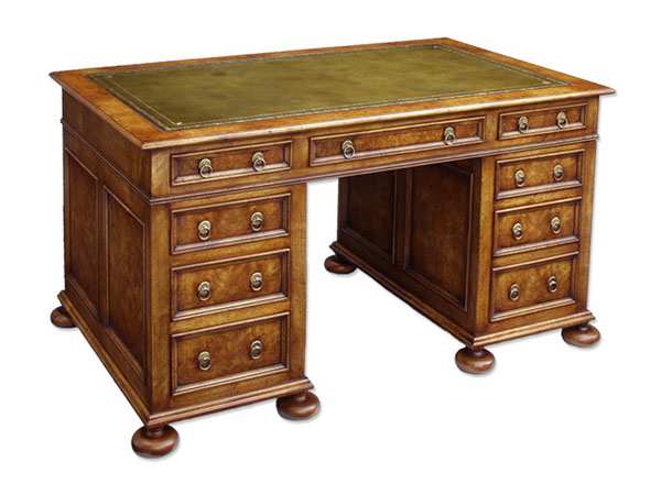 Norfolk Cabinet Makers William and Mary Style  Desk in Solid and Burr Walnut
