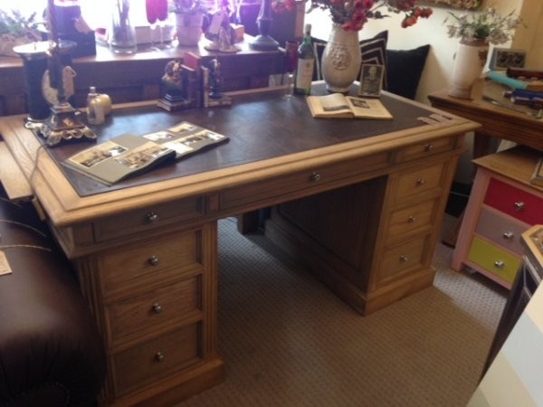 Classic Oak Small Partners Desk on display at Harvest Moon Interiors