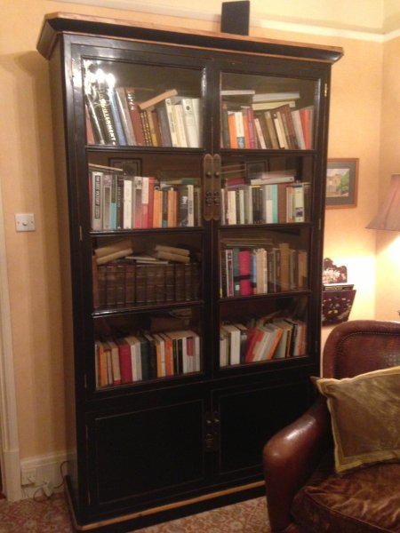 Oriental Large Black Glazed Bookcase at Harvest Moon Towers alongside a Tetrad leather chair