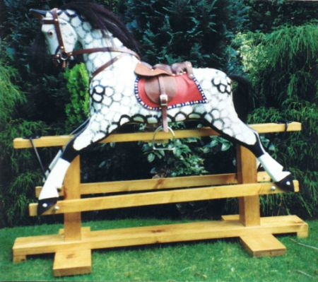 Medium Size Rocking Horse in Traditional White / Black Dapple Grey Finish