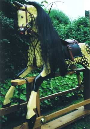 Grand Rocking Horse in Antique Creme / Black Dapple Lacquered Finish