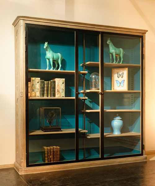 Rouchon Esprit de Chateau C940 Library Glazed Bookcase with blue painted interior back and sides