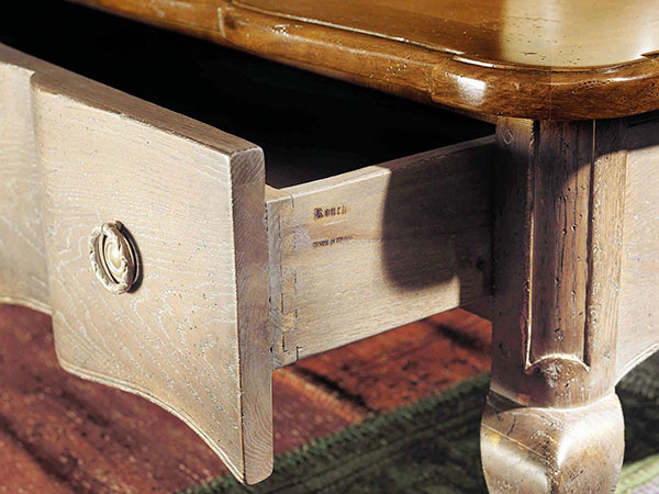 Rouchon Esprit de Chateau Louis XV style walnut and oak square coffee table shown here close up with the drawer open