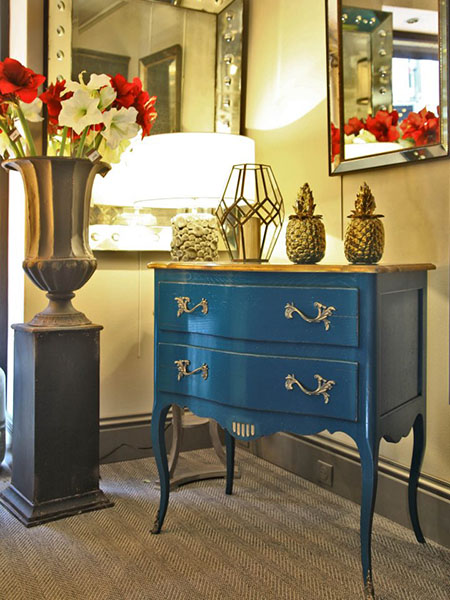 Rouchon Esprit de Chateau Louis XV style 2 drawer chest with a painted blue finish
