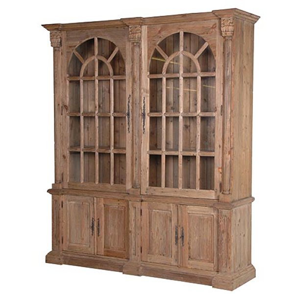 Colonial Reclaimed Pine Double Bookcase
