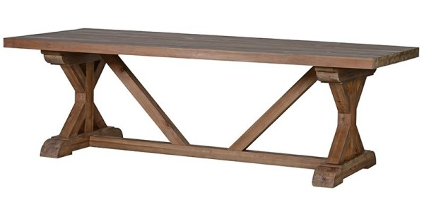 Rustic Pine Tavern Dining Table with Stretcher