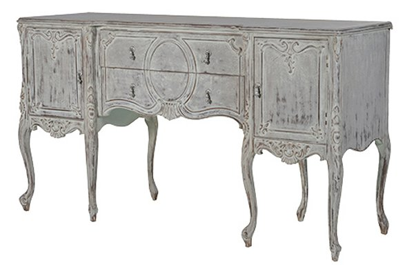 Reclaimed Distressed Pine Carved Sideboard
