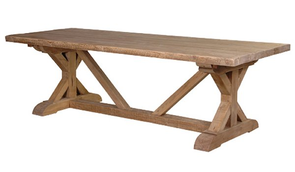 Loft Reclaimed Pine Tavern Dining Table with Stretcher