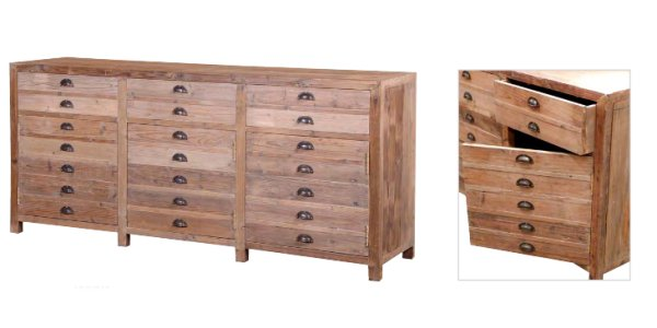 Large Rustic Pine Fake Drawer Unit 3 Drawers 3 Doors
