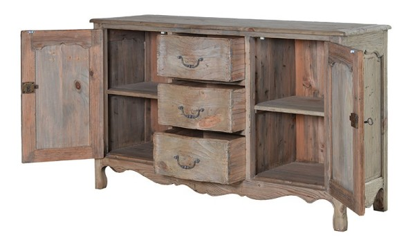 Empire reclaimed pine sideboard shown here with the sideboard doors open and 3 central drawers partially open