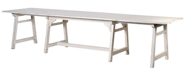 Off-White Distressed Extending Dining Table - Shown here extended