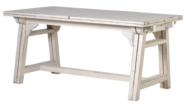 Off-White Distressed Extending Dining Table - Seats 10-12