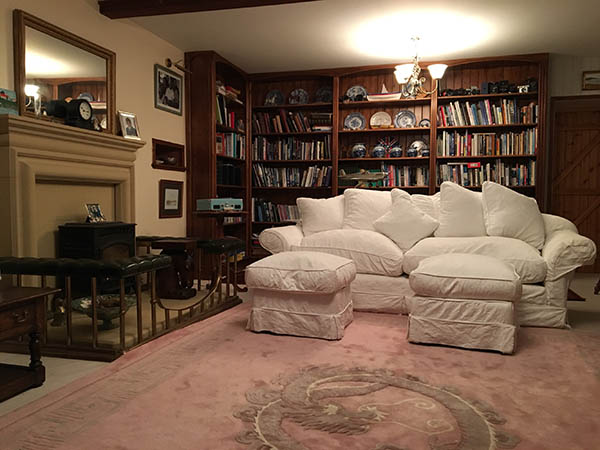 Tetrad Alicia Grand Sofa in Natural Jacobean Flower Cotton in a customer's home