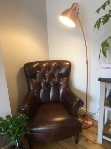 Tetrad Calvay Leather Chair & Shiny Copper Floor Standing Lamp