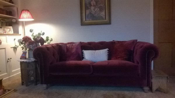 Tetrad Coniston Velvet Sofa in a customer's home
