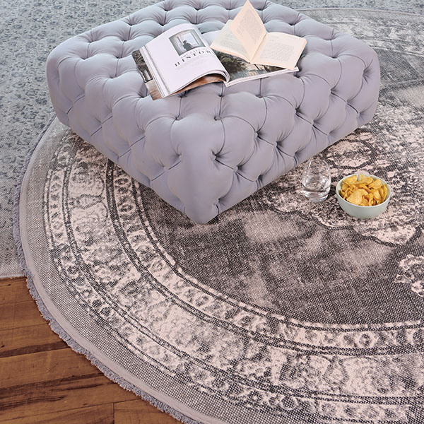 Tetrad Cotton Printed Round Charcoal Rug & FF Pouffe Stool