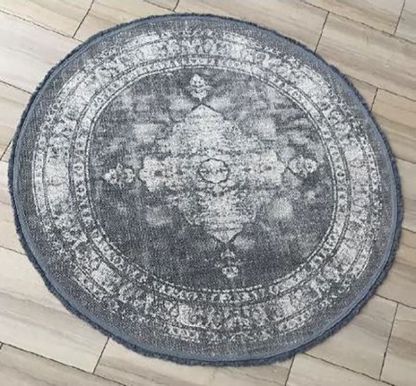 Tetrad Cotton Printed Round Charcoal Rug