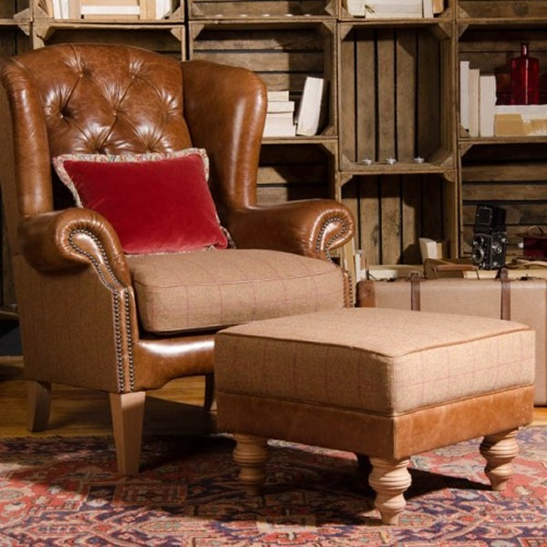Tetrad Jefferson Wing Chair & Small Square Stool