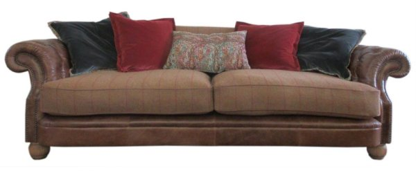 Tetrad Jefferson Sofa in Galveston Bark Hide with Merlin Earth Brown Check Wool