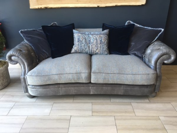 Tetrad Jefferson Midi Sofa in Galveston Slate hide with Merlin Sky Check wool