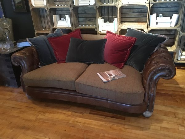 Tetrad Jefferson Midi Sofa in Galveston Bark Hide with Merlin Earth Brown Check Wool