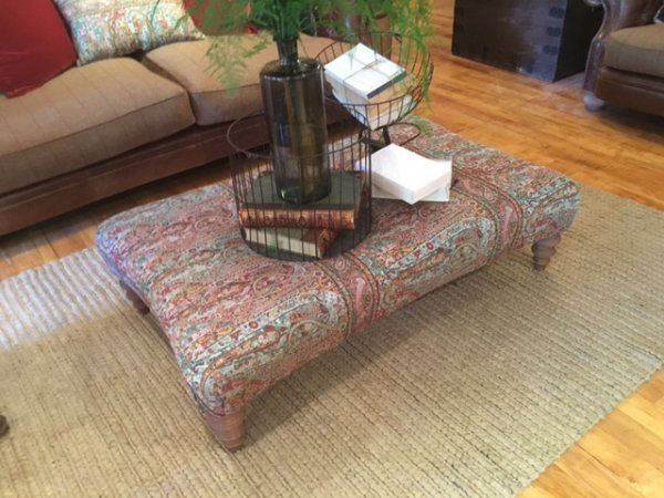 Tetrad Jefferson Large Rectangular Stool in Valeria Paisley fabric