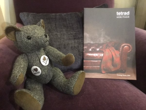 Tetrad Keswick Chair in our showrooms along with the Tetrad bear & a Tetrad catalogue
