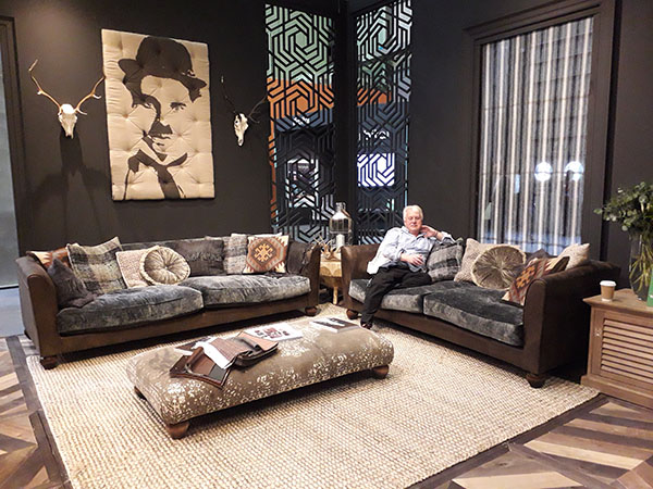 Mr Harvest Moon trying out the Tetrad Lowry Midi Sofa, also shown is the Grand Sofa & Stool