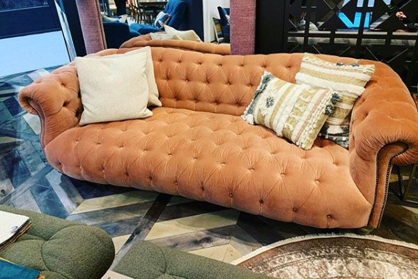 Tetrad Matisse Fixed Cover Fabric Sofa - Shown here in Rose Corduroy fabric