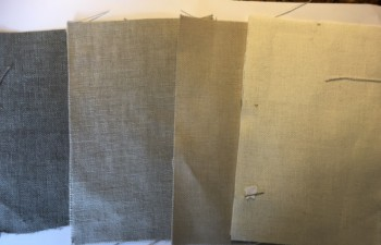 From left to right: Sahara Driftwood, Sahara Ash, Sahara Linen & Sahara Shell fabric swatches