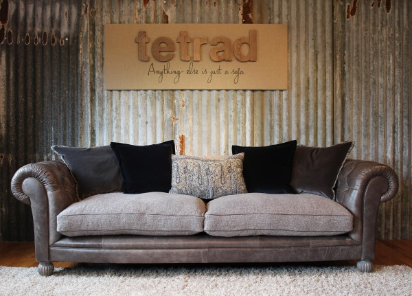 Tetrad Mixed Leather and Fabric Sofas