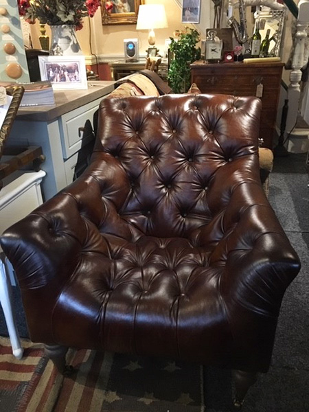 Tetrad Yale Leather Armchair on display in our Southport furniture showrooms