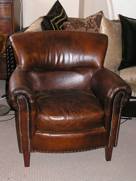 Highgrove Classic Vintage Brown Leather Armchair on display in our Southport furniture showrooms