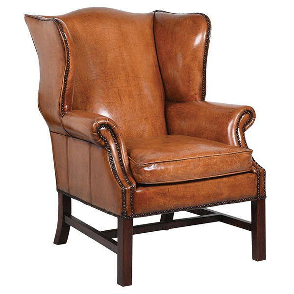 Edward Vintage Brown Leather Wing Chair