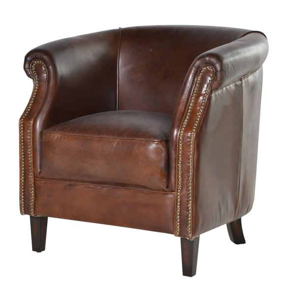 Vintage Brown Leather Chelsea Armchair