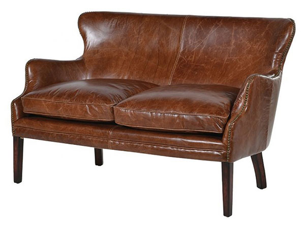 Classic Vintage Brown Leather Cottage 2 Seater Sofa