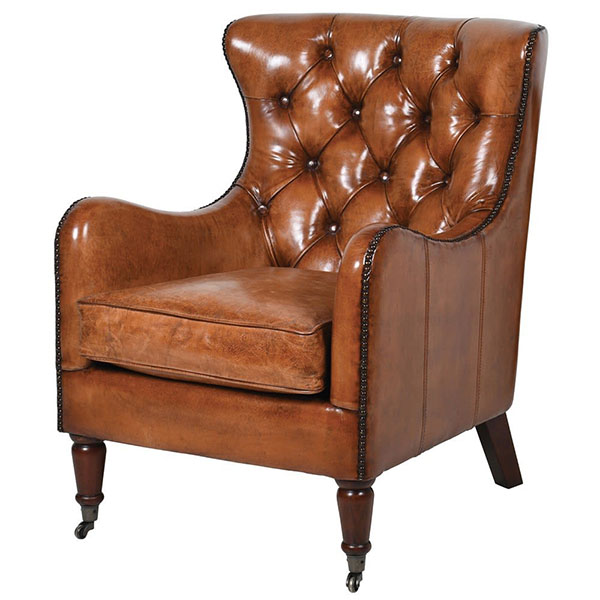 Charles Vintage Brown Leather Tall Button Backed Armchair