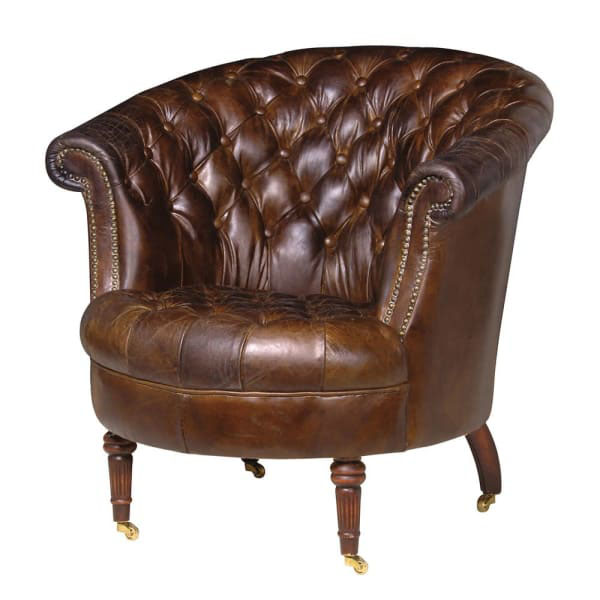 Vintage Brown Leather Gents Club Chair
