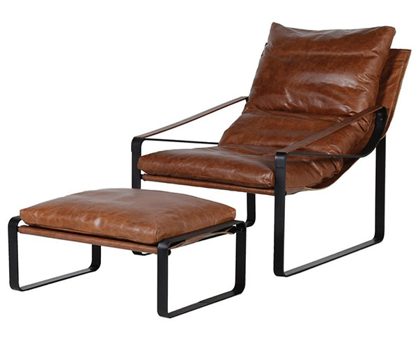 Vintage Brown Leather Relaxer Chair and Footstool
