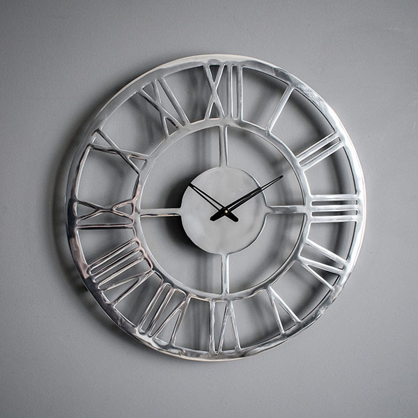 Gallery Direct Pavia Large Polished Aluminium Wall Clock