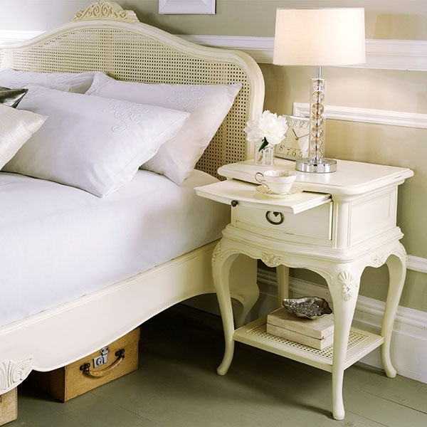Willis & Gambier Ivory Bedstead and Bedside Chest
