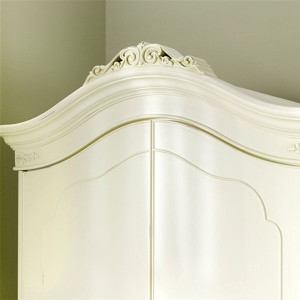 Willis & Gambier Ivory Double Wardrobe - Carved detailing at the top of the wardrobe