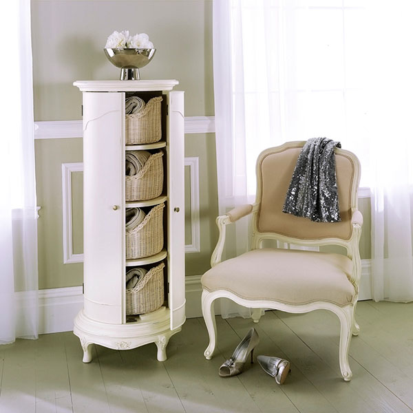 Willis & Gambier Ivory Storage Cabinet and Bedroom Armchair
