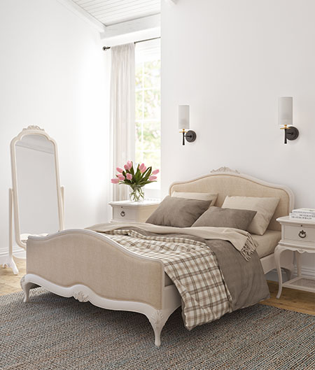 Willis & Gambier Ivory 5ft King Size Upholstered Bedstead, 1 Drawer Bedside Chest & Cheval Mirror